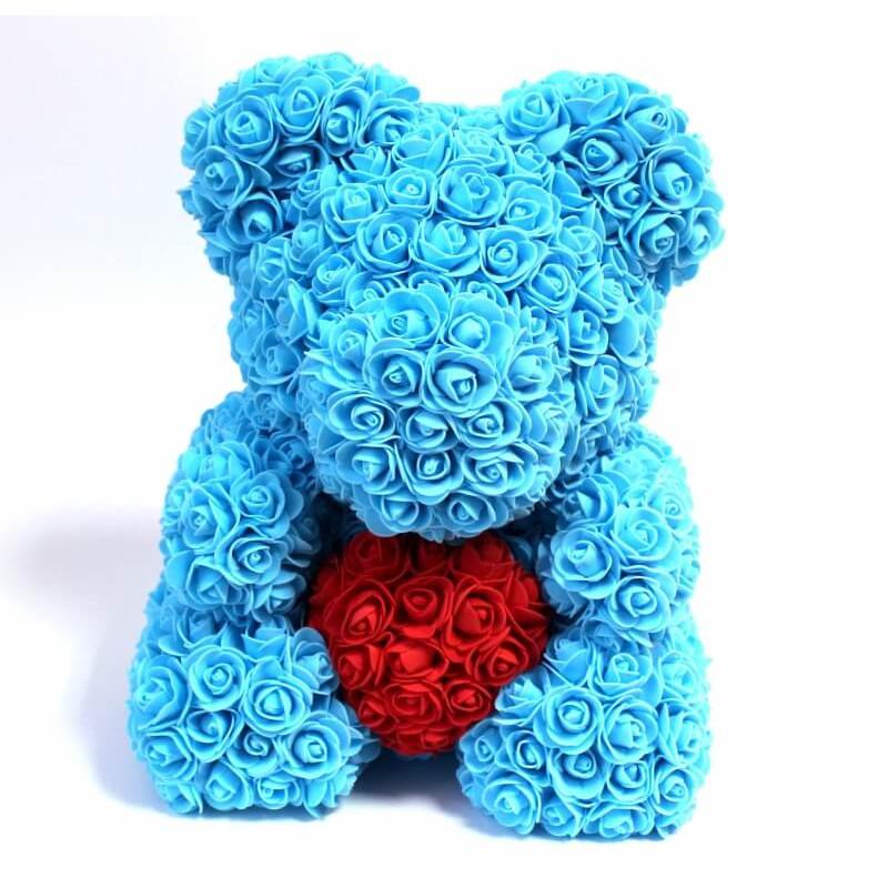 """Мишка из роз """"Голубой с сердцем"""" с Подарочной конфетой"""