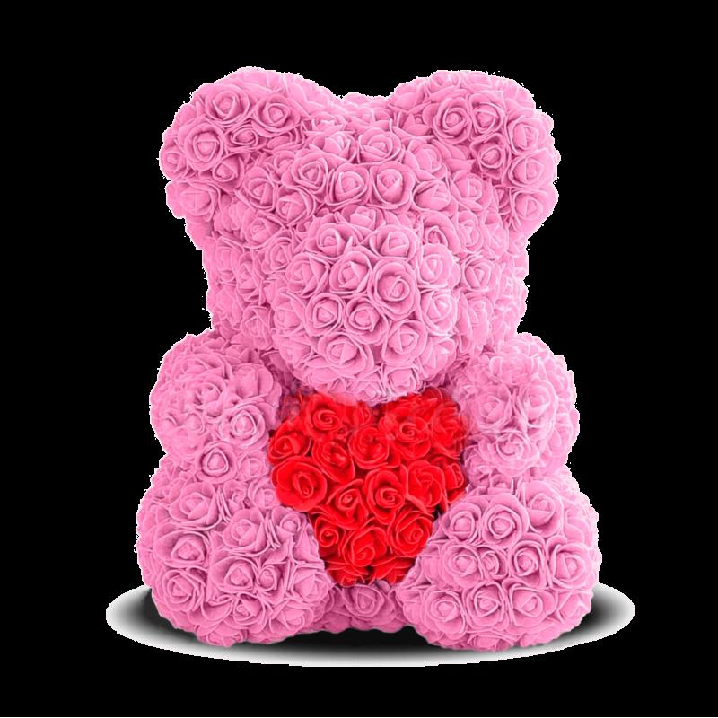 """Мишка из роз """"Розовый с сердцем"""" с Подарочной конфетой"""