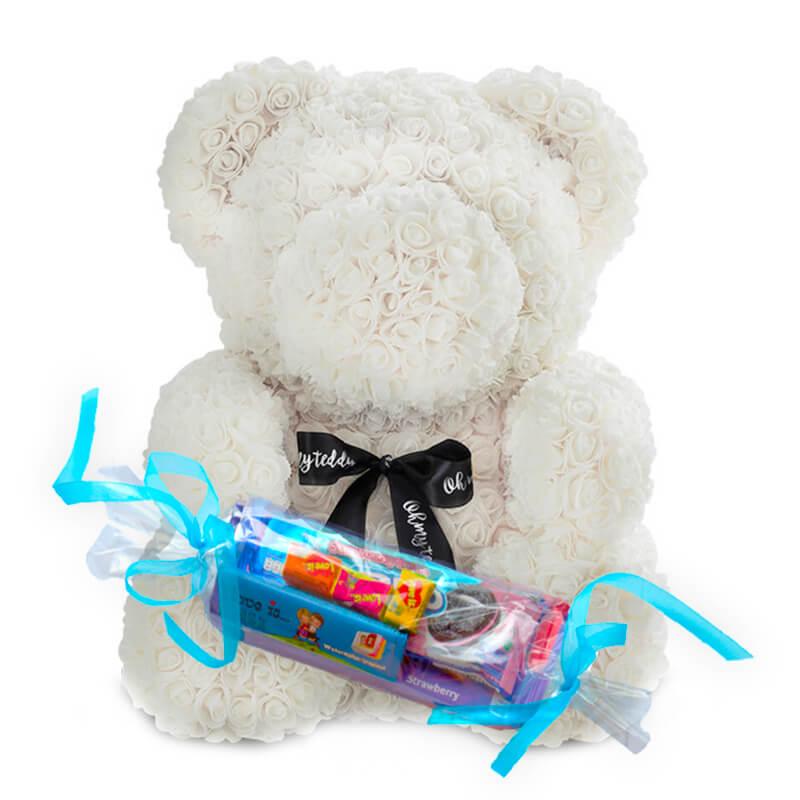 """Мишка из роз """"Белый с лентой"""" с Подарочной конфетой"""