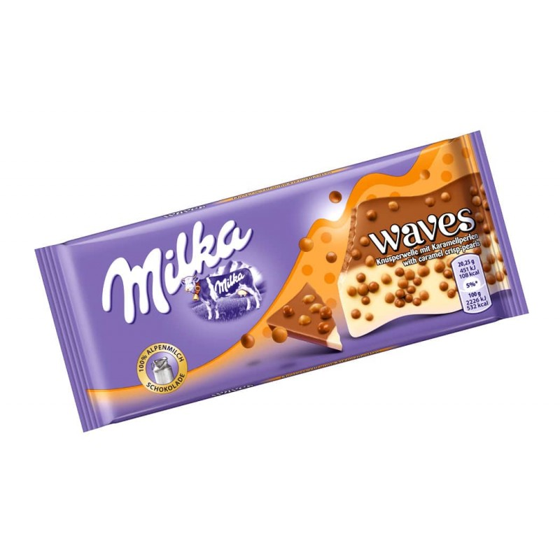 Шоколад Milka Waves с карамелью