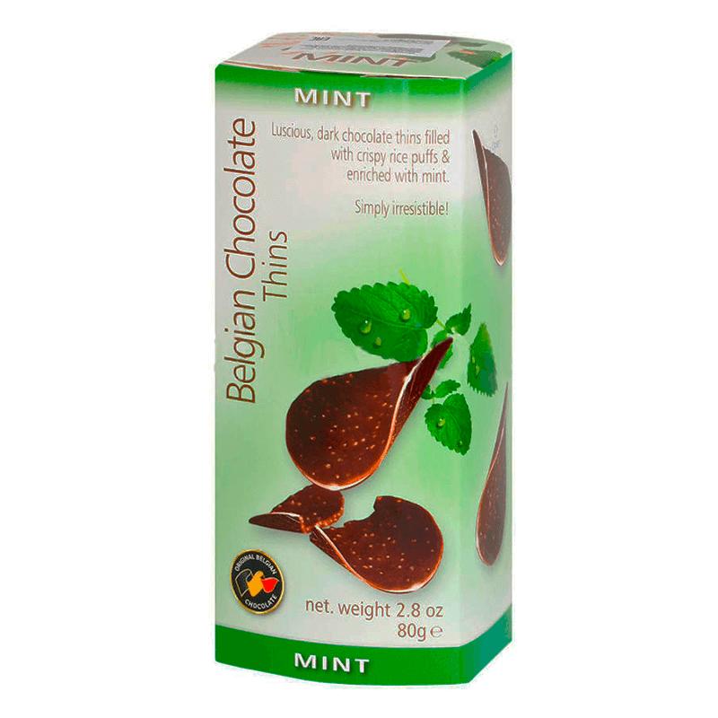 Шоколадные Чипсы Belgian Milk Chocolate Thins Mint (Мята) 80 g